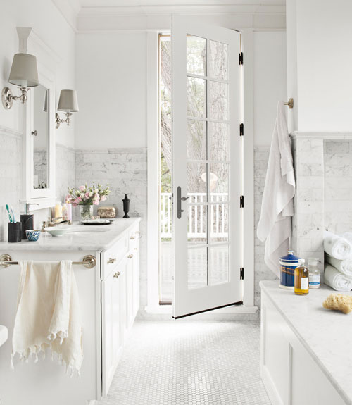 Comwhite Carrara Marble Bathroom : ... living darryl carter cococozy white marble bathroom carrara glass door